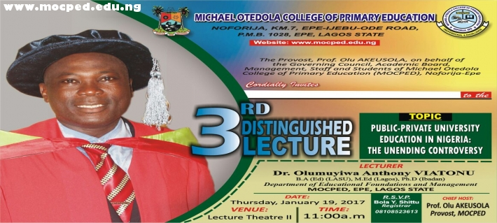 3rd Distinguish Lecture By Dr. Olumuyiwa Anthony VIATONU.