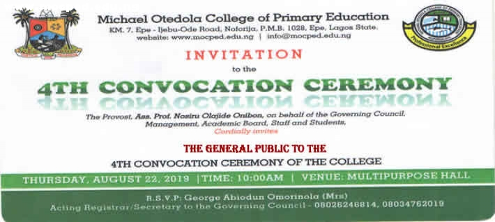 MOCPED 4th Convocation Ceremony Holds On Aug 22, 2019.