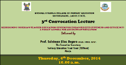 3rd Convocation Lecture Delivered by Prof. Suleiman Elias Bogoro (FNIAS, FFPNO, FSPSP).