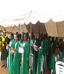 Matriculating students taking oath